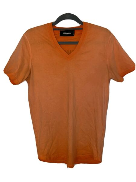 DSQUARED2 men T shirt Sz M Short Sleeve V neck Orange. *SHIPS TO YOU TODAY* $50.00