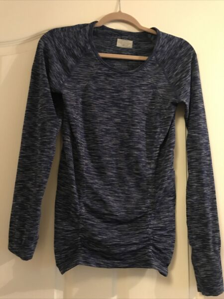 Athleta Women#x27;s S Small Blue Fastest Track Long Sleeve Ruched T Shirt Top NWOT $25.00