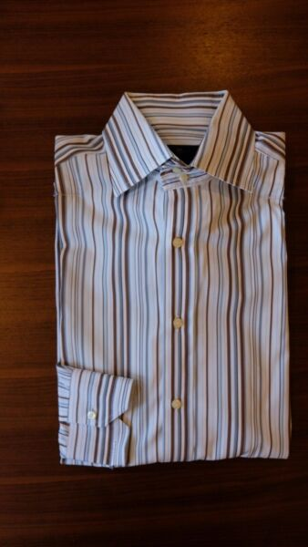Etro Shirt 15.5 Striped White Brown Gray Spread Collar Made in Italy $9.95