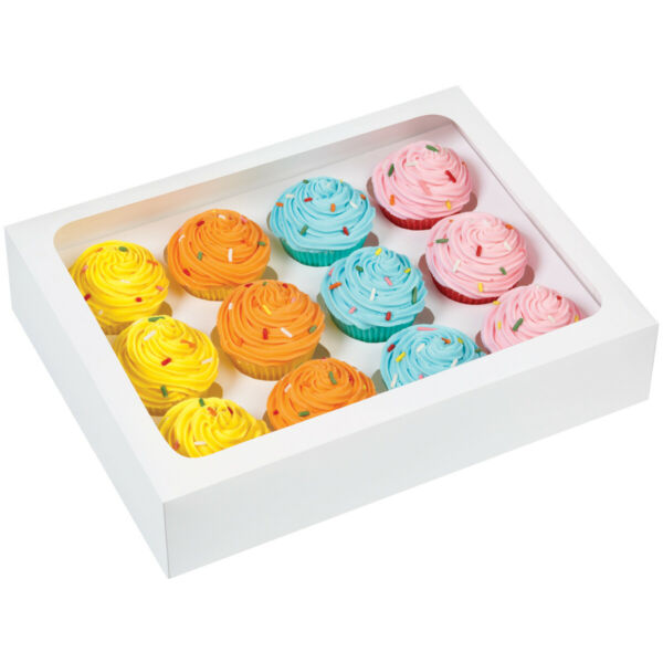 Mini Cupcake Boxes 12 Cavity White 3 Pkg