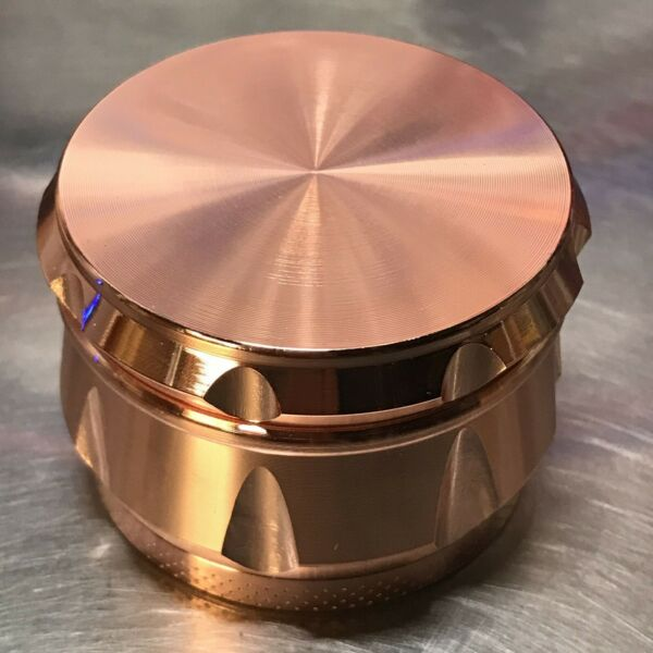 2.2 Inch 4 Piece Metal Large Dry Herb Spice Tobacco Grinder Crusher Rose Gold $12.99