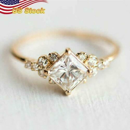 Pretty 18k Yellow Gold Plated Rings Women White Sapphire Jewelry us Size 6 10