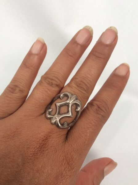 Old Pawn Native American Navajo Silver Sand Cast Wide Ring Size 9