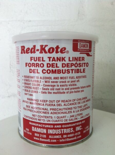 RED KOTE GAS FUEL TANK SEALER LINER REDKOTE QT.