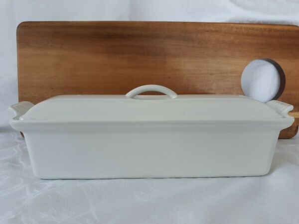 LeCreuset White Enameled Cast Iron #32 Pate Terrine With Lid
