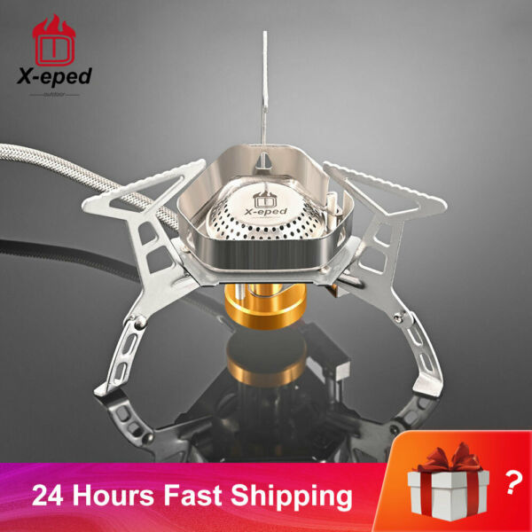 X eped Outdoor Gas Burner Windproof Camping Stove Portable Folding Ultralight Sp
