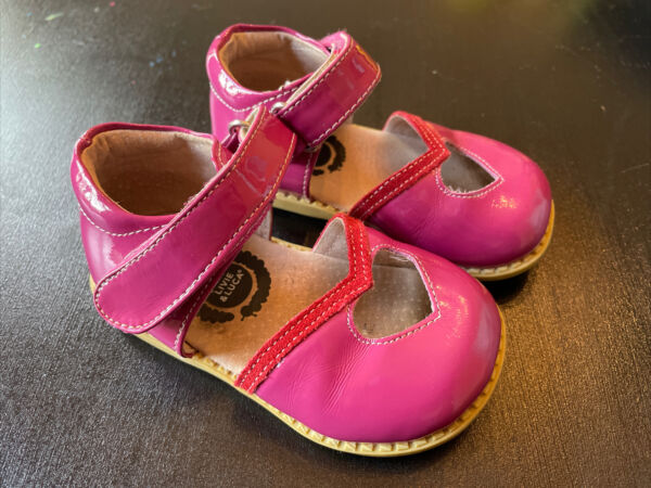Livie amp; Luca Girls Shoes Toddler Size 5 Bright Pink Heart Leather Sandals $16.50