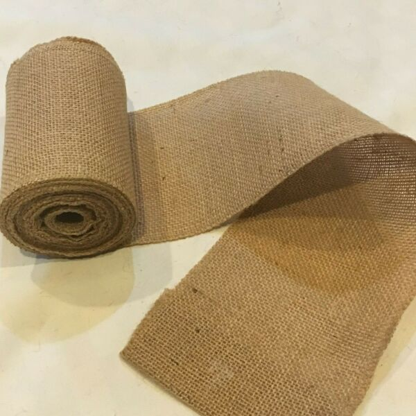 6quot; wide Natural Burlap Ribbon 10 Yard Roll 10oz 30 feet Finished Edges BS166