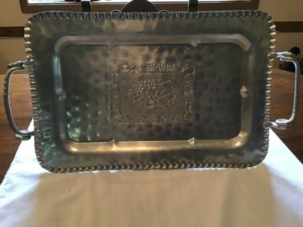 Vintage Cromwell Hand Wrought Hammered Aluminum Metal Tray Flower Center