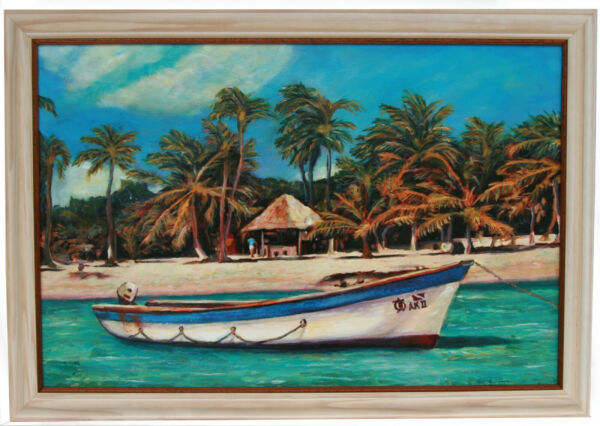 Original Oil Painting Pleasant Bay  32 inches x 24 inches  Custom Frame