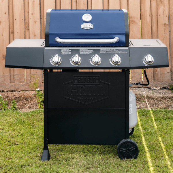 Expert BBQ Grill 4 Burner with Side Burner LP Propane Gas Barbeque Grill in Blue
