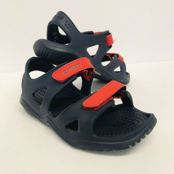 CROCS Blue Waterproof Open Toe Slip On Sandals Boys Toddler Size C9 VG Preowned $11.99