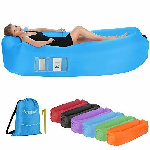 Inflatable Lounger Air Sofa: Waterproof Beach Travel Outdoor Recliner Blue $38.21