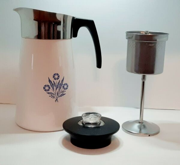 Corning Ware Cornflower P 149 10 Cup Coffee Stovetop Complete w Inserts Vintage
