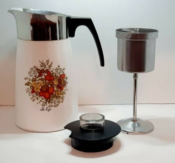 Corning Ware Le Cafe P 149B 10 Cup Coffee Stovetop Complete w Inserts Vintage