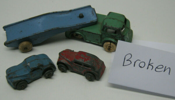Barclay Classic Car Carrier Transport Cars Vintage Antique White Tires BROKEN $20.00