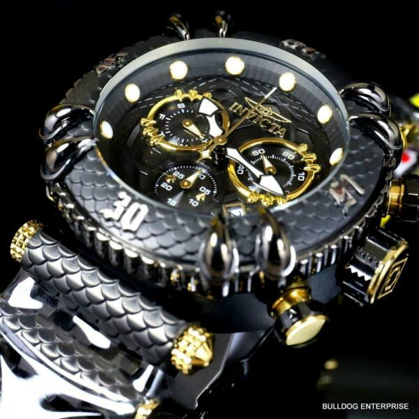 Invicta Subaqua Talon Chronograph Black Steel Gold Plated 52mm Swiss Watch New