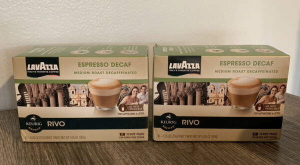 2 Boxes Lavazza Expresso Decaf 36 Keurig Rivo Packs Pods K Cups BBD 3 2020