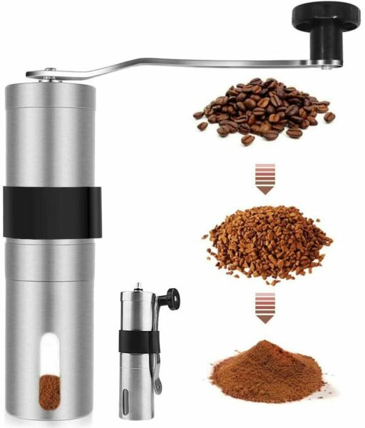 Manual Coffee Grinder Stainless Steel Detachable Burr Bean Mill Portable NEW