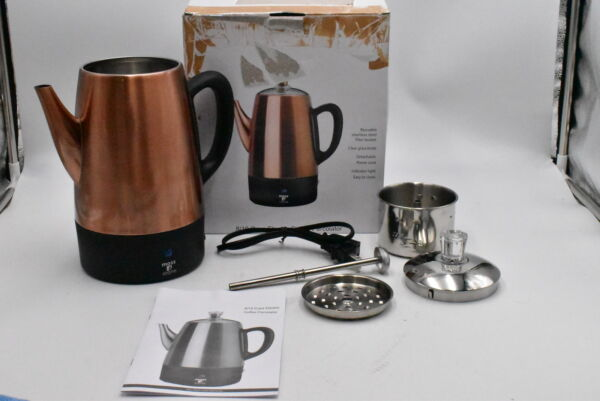 Moss amp; Stone Electric Coffee Percolator Copper Body with Stainless Lid 10 Cup