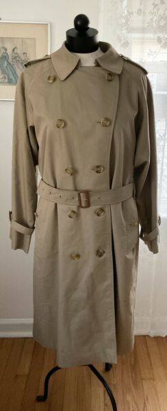 Women#x27;s Burberry Trench Coat With Belt Size 14 L Wool Lining Medium M $259.00