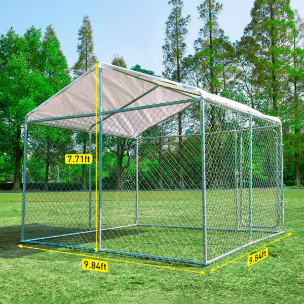10#x27;x10#x27; Outdoor Steel Dog Cage XXL Pet Kennel House w Cover Puppy Playpen Yard $419.99