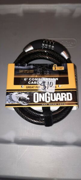 OnGuard 6 Foot Combination Heavy Duty 12mm Cable Bike LockGreat For Car Racks $15.99