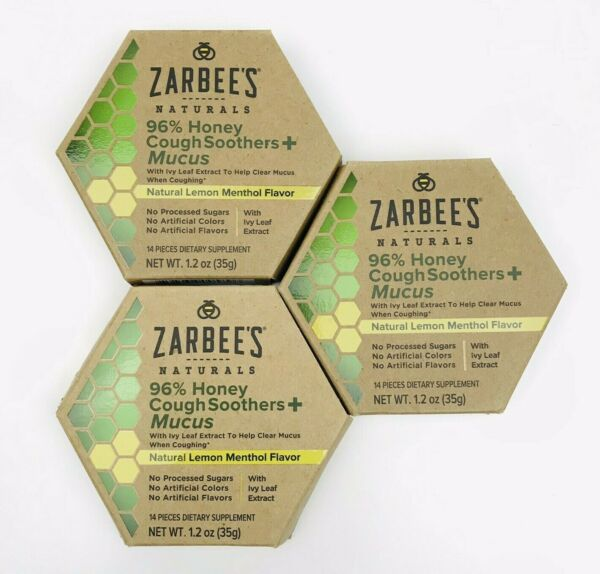 3x Zarbees Natural 96% Honey Cough Soothers Lemon Menthol 14pc Exp 2 2022 4 2022 $9.99