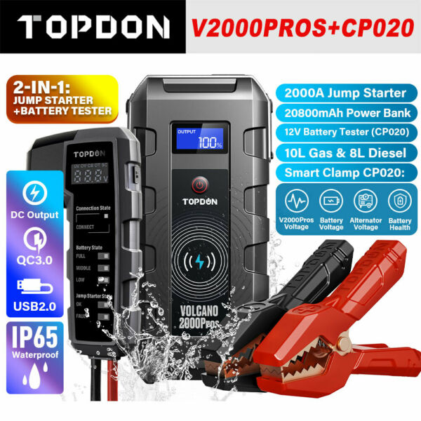 12V Car Jumper Box 2000A Auto Battery Booster Tester Charger 20800mAh Power Bank $199.00