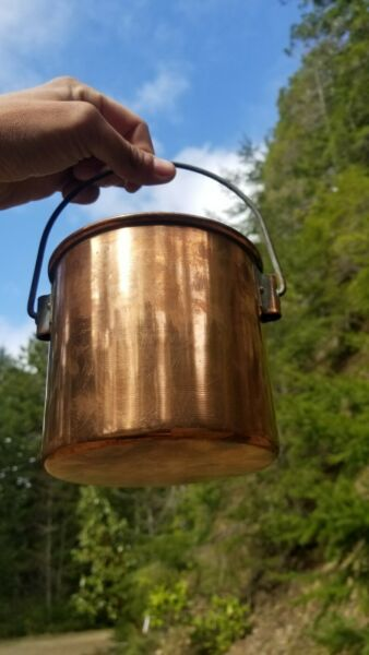 Antique French Copper Berry Bucket Old Burgundy France Solid Copper Cookware