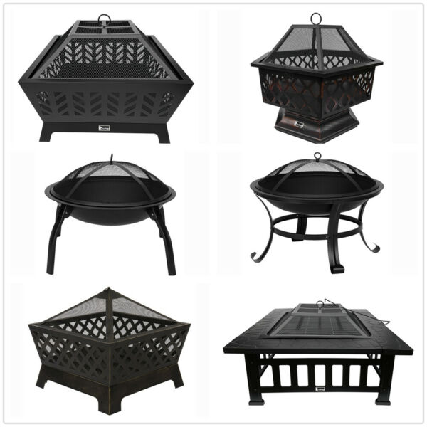 Outdoor Wood Burning Steel Fire Pit For Camping BBQ Backyard Patio Stove US $119.49