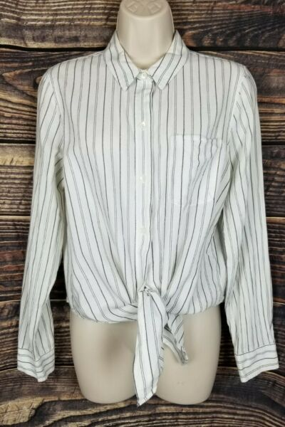 Madewell White Striped Top Tie Front Large Blouse $23.09