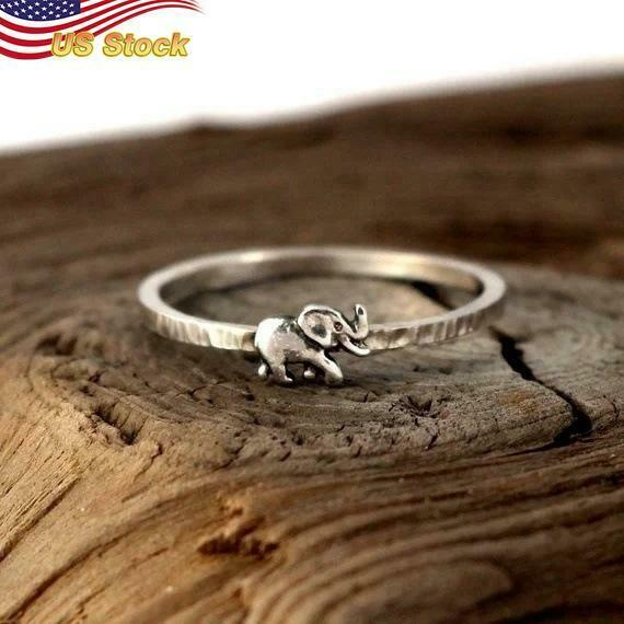Fashion 925 Silver Plated Elephant Jewelry for Women Ring US Size 6 10