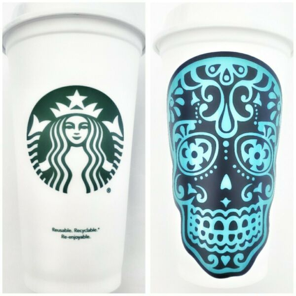 Starbucks Disposable Tumbler Cup With Custom Personalized Sugar Skull Decal