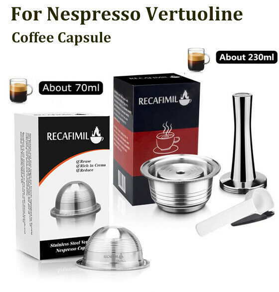 Stainless Steel Refillable For Nespresso Vertuo Coffee Pods Capsules 70ml 230ML