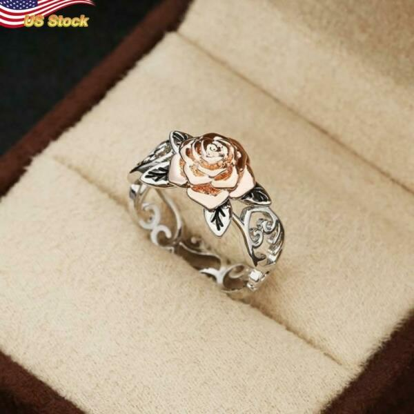 Eagle Two Tone 925 Silver Palted rose flower Jewelry Party Ring US Size 5 12