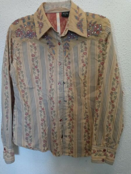 Martini Ranch Embroidered Western Cotton Shirt Pearl Snap Front large floral $32.99