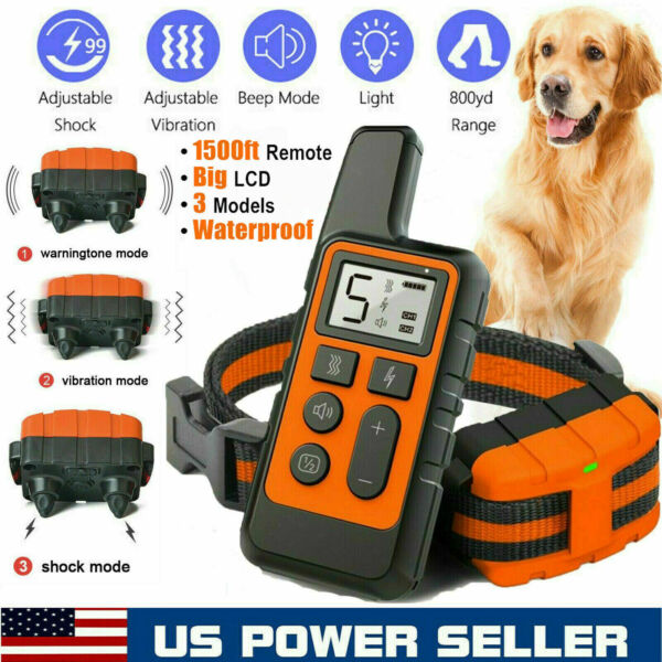 2600 FT Remote Dog Shock Training Collar Rechargeable Waterproof LCD Pet Trainer $27.99
