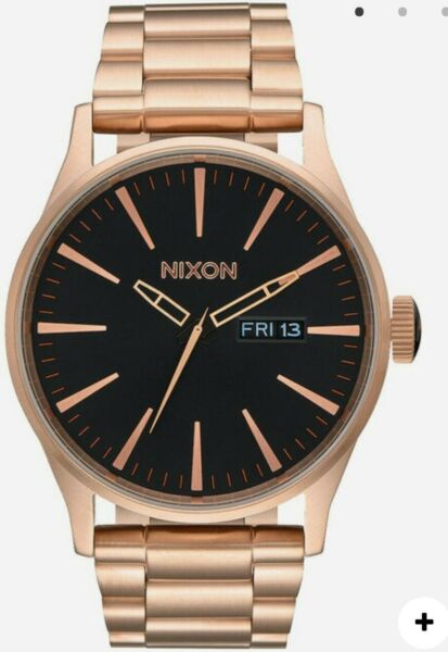 Nixon Sentry SS 42mm All Rose Gold Black Stainless Steel Watch A356 1932