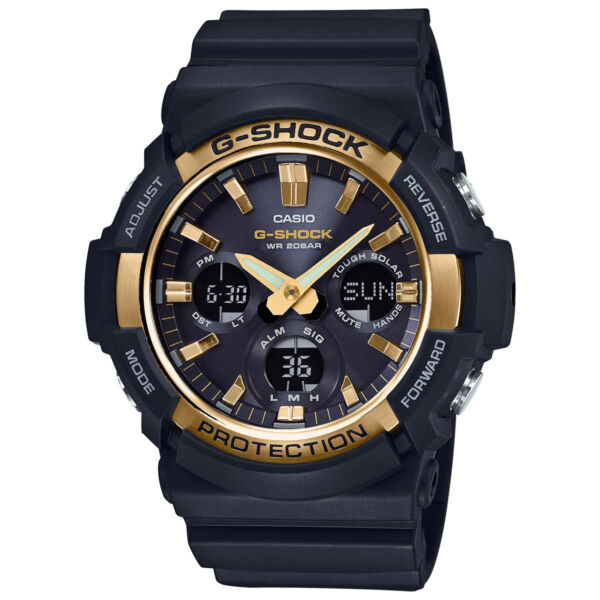 NEW Casio G Shock Solar Powered Black with Gold Tone Bezel Watch GAS100G 1A $164.95