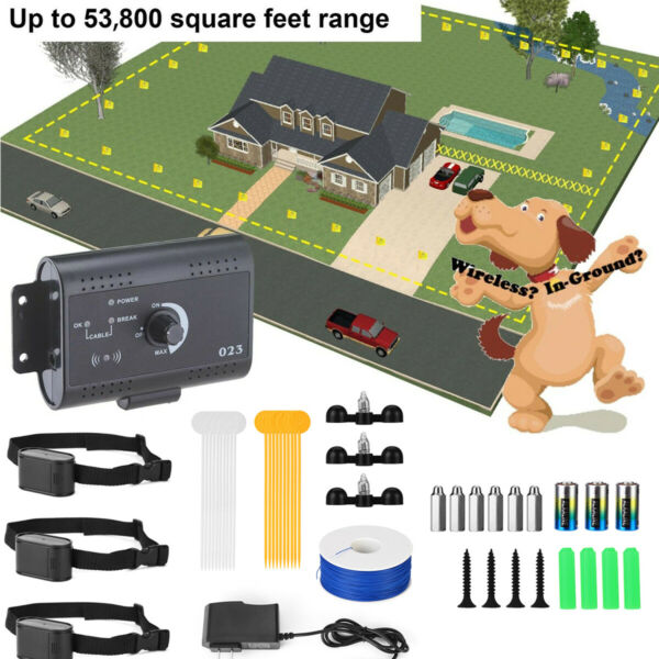1 2 3 Electric Dog Wireless Fence Shock Collar No Wire Pet Containment System US $37.99