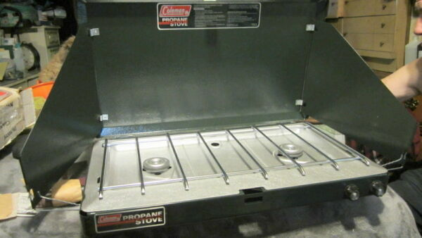 COLEMAN #5430A740 2 BURNER PROPANE STOVE WITH CARRY CASE AND ORIGINAL BOX