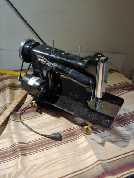 Vintage antique early model Necchi Sewing Machine Black nice