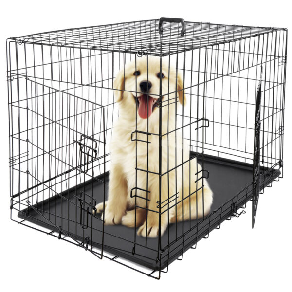 24quot; 36quot; 42quot; Durable Dog Crate Kennel Folding Metal Pet Cage 2 Door With Tray Pan $51.99