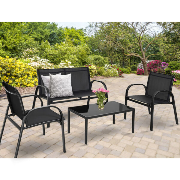 4PCS Black Furniture Set Chairs Coffee Table Patio Garden Brand New