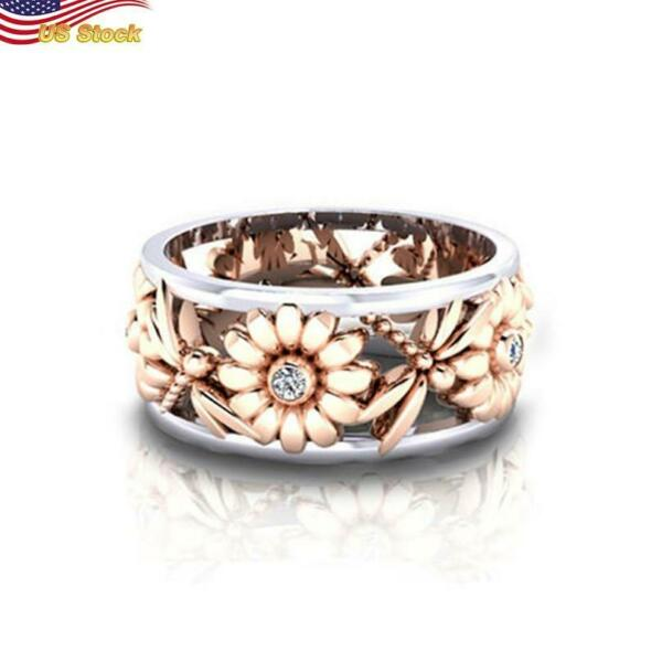 Two Tone Sunflower dragonfly Ring Women Gorgeous 925 Silver Plated Size 6 10