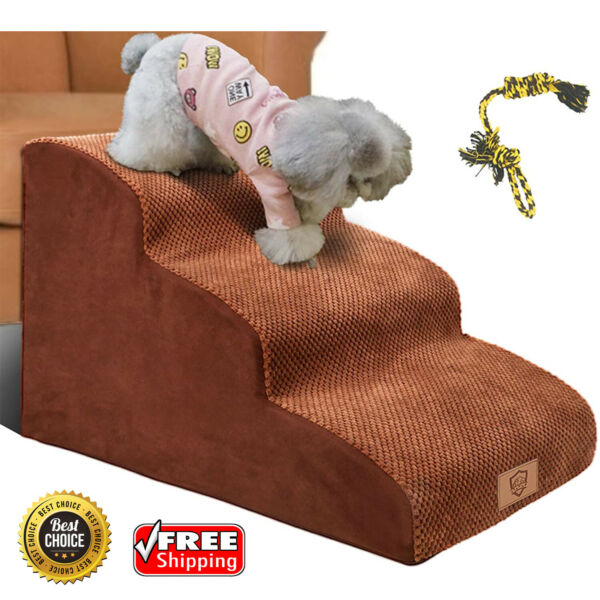 3 Tiers Foam Dog Ramps Steps Non Slip Extra Wide Deep Pet Stairs Ladder High Toy $136.78