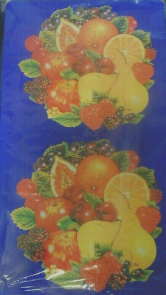 2 Piece Blue Fruit Medley Red Apple Grapes Rectangle Stove Top Gas Burner Covers $29.88