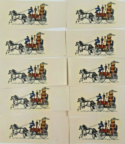 Lot of 10 Vintage Water Mount Slide Decals of Horse Drawn Fire Engines $7.95