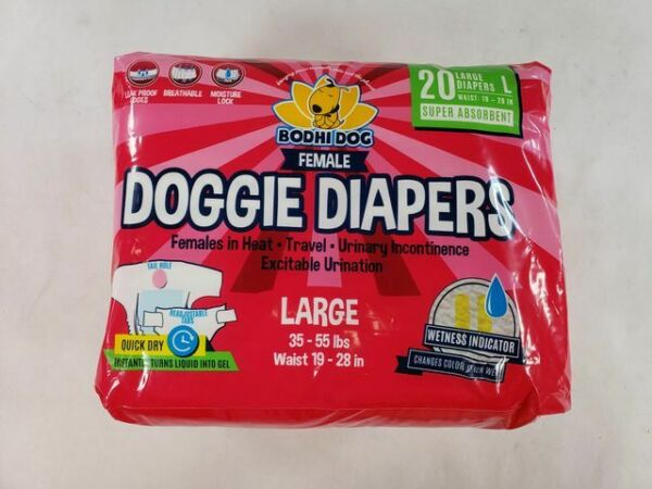Pack Of 20 Bodhi Dog Disposable Dog Female Diapers Large Waist 19 28 Inch $12.79
